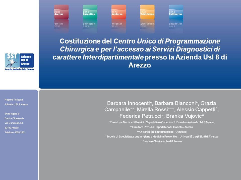 Regione Toscana Azienda USL 8 Arezzo Sede legale e Centro Direzionale Via Curtatone, 54 52100 Arezzo Telefono 0575 2551 Costituzione del Centro Unico