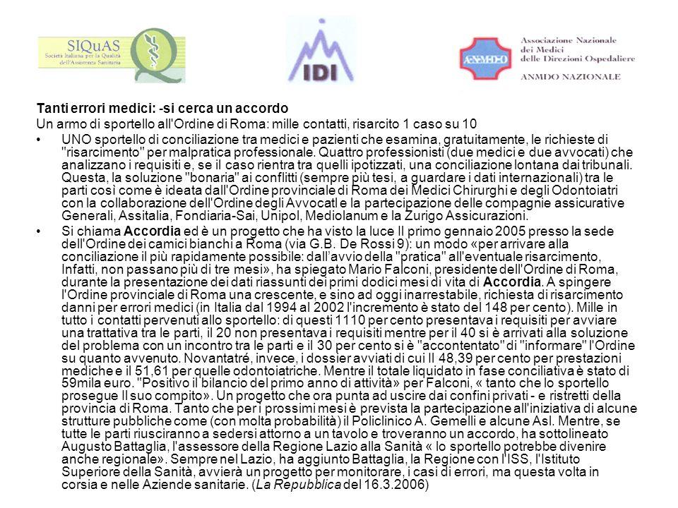 Tanti errori medici: -si cerca un accordo Un armo di sportello all'Ordine di Roma: mille contatti, risarcito 1 caso su 10 UNO sportello di conciliazio