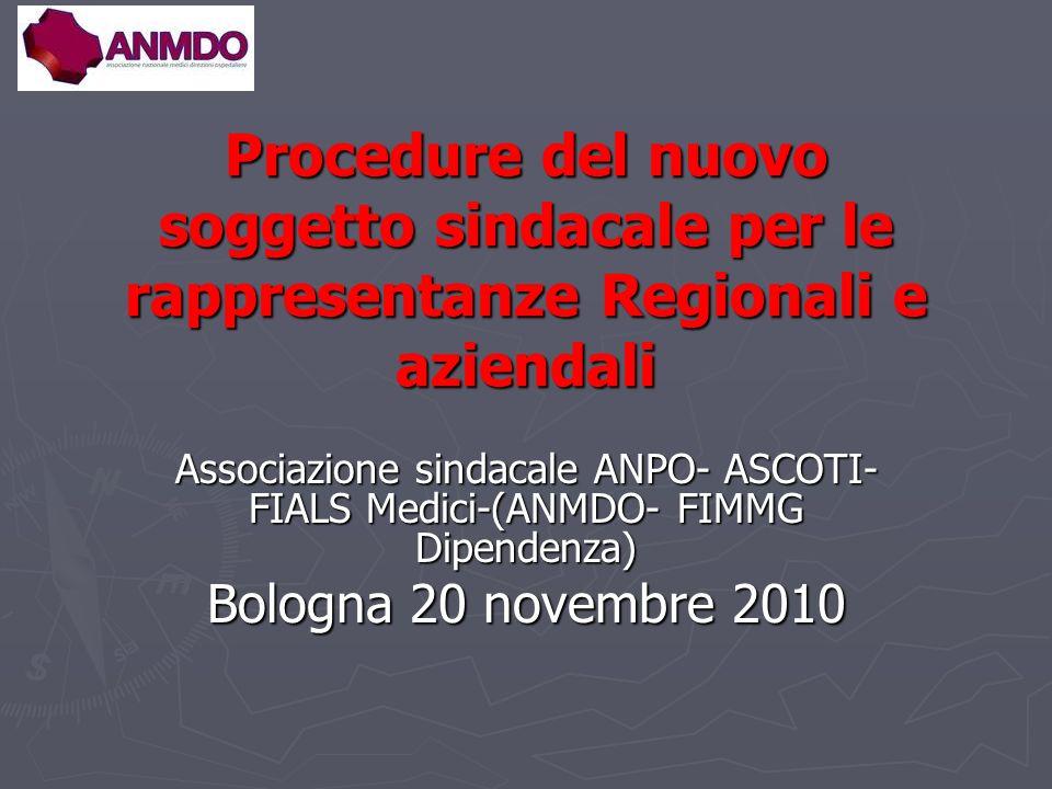 Procedure del nuovo soggetto sindacale per le rappresentanze Regionali e aziendali Associazione sindacale ANPO- ASCOTI- FIALS Medici-(ANMDO- FIMMG Dipendenza) Bologna 20 novembre 2010