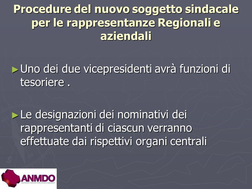 Procedure del nuovo soggetto sindacale per le rappresentanze Regionali e aziendali Uno dei due vicepresidenti avrà funzioni di tesoriere.
