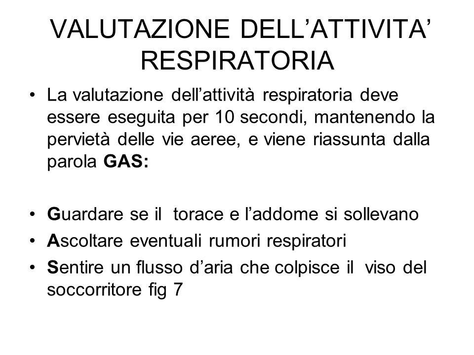 VALUTAZIONE DELLATTIVITA RESPIRATORIA La valutazione dellattività respiratoria deve essere eseguita per 10 secondi, mantenendo la pervietà delle vie a