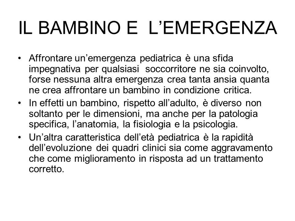 IL BAMBINO E LEMERGENZA Affrontare unemergenza pediatrica è una sfida impegnativa per qualsiasi soccorritore ne sia coinvolto, forse nessuna altra eme