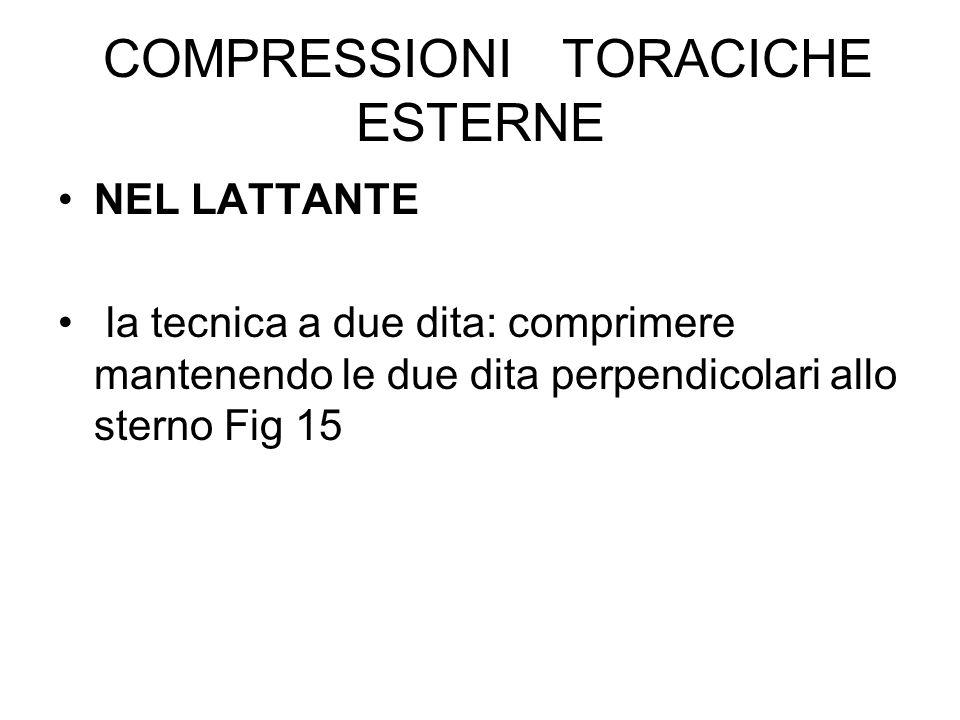 COMPRESSIONI TORACICHE ESTERNE NEL LATTANTE la tecnica a due dita: comprimere mantenendo le due dita perpendicolari allo sterno Fig 15