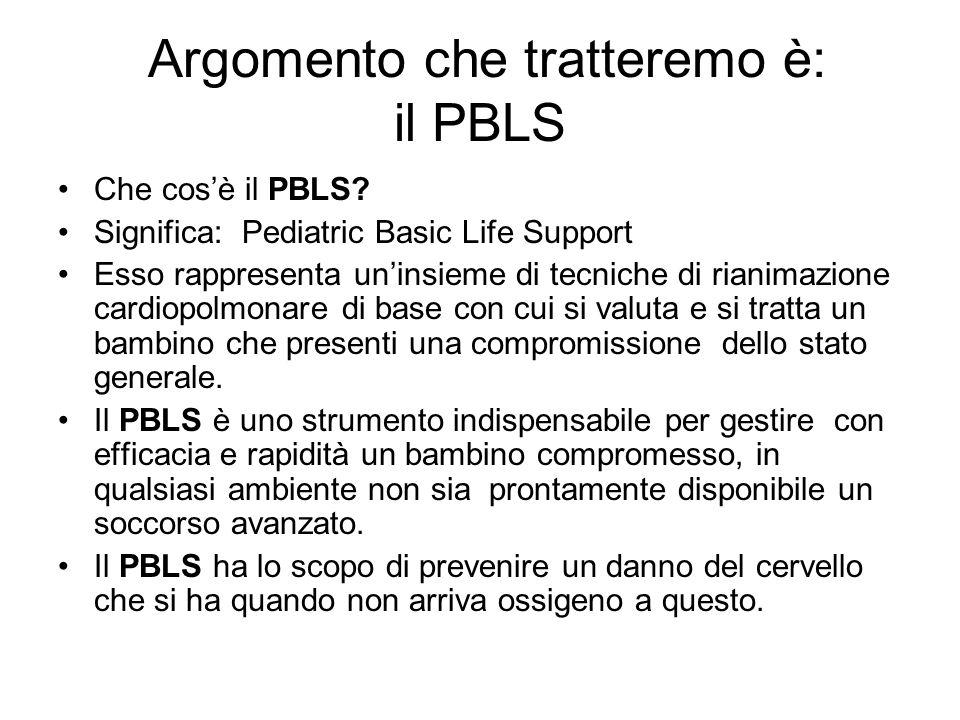 Argomento che tratteremo è: il PBLS Che cosè il PBLS? Significa: Pediatric Basic Life Support Esso rappresenta uninsieme di tecniche di rianimazione c