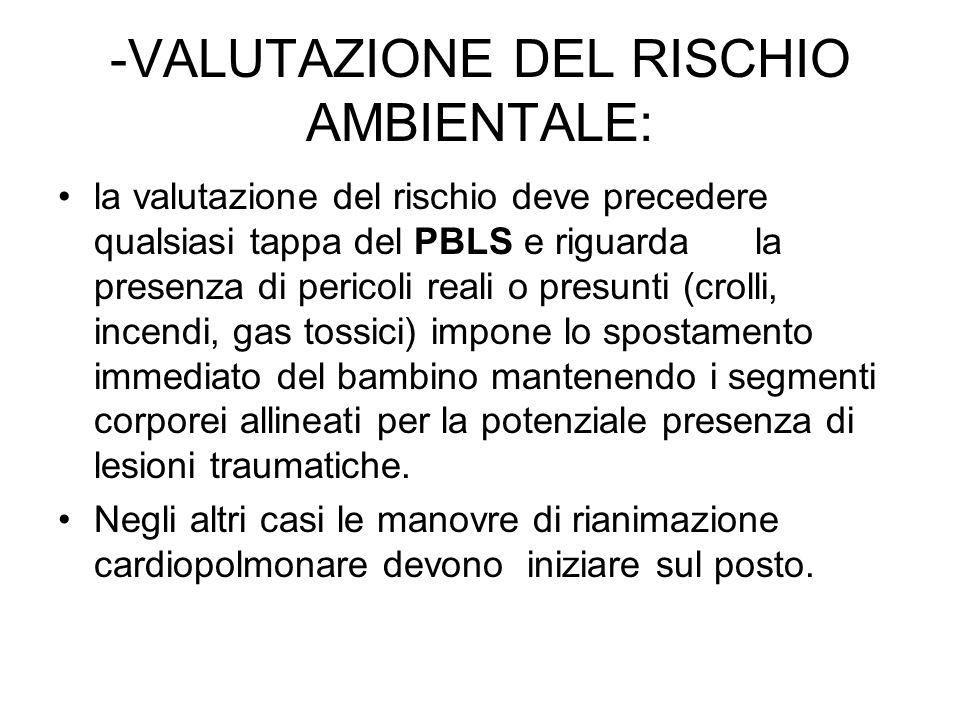 -VALUTAZIONE DEL RISCHIO AMBIENTALE: la valutazione del rischio deve precedere qualsiasi tappa del PBLS e riguarda la presenza di pericoli reali o pre