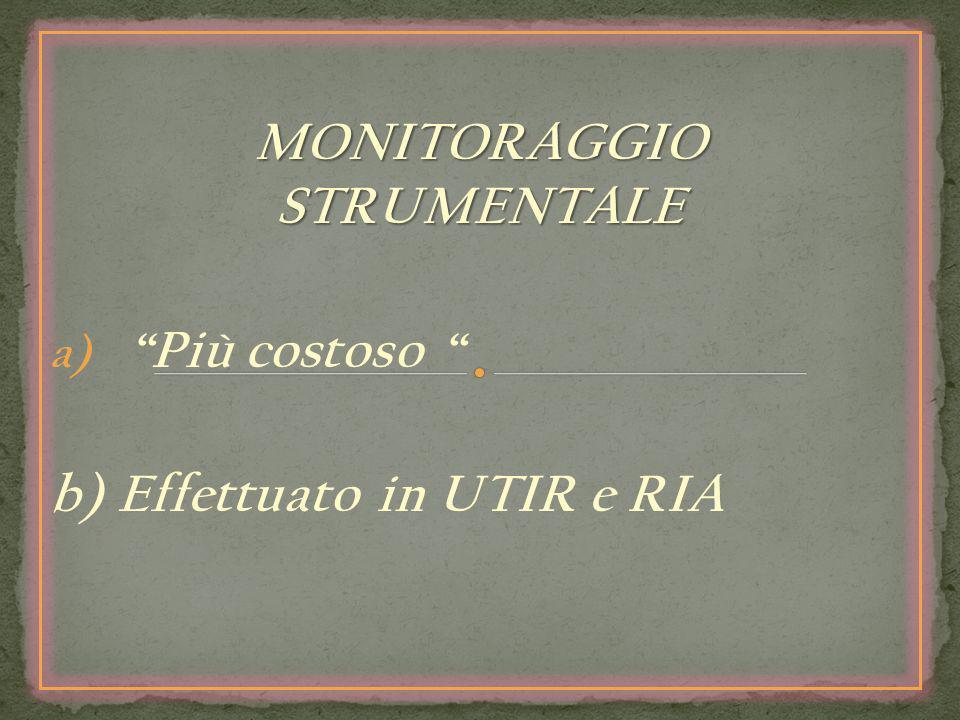 MONITORAGGIO STRUMENTALE a) Più costoso b) Effettuato in UTIR e RIA