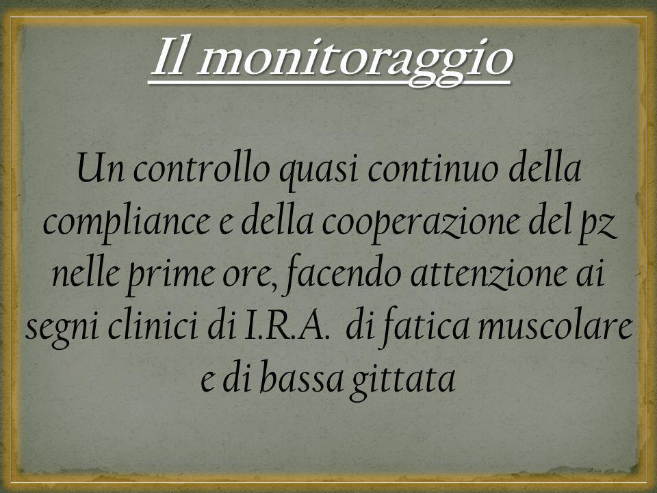 Il monitoraggio Un controllo quasi continuo della compliance e della cooperazione del pz nelle prime ore, facendo attenzione ai segni clinici di I.R.A