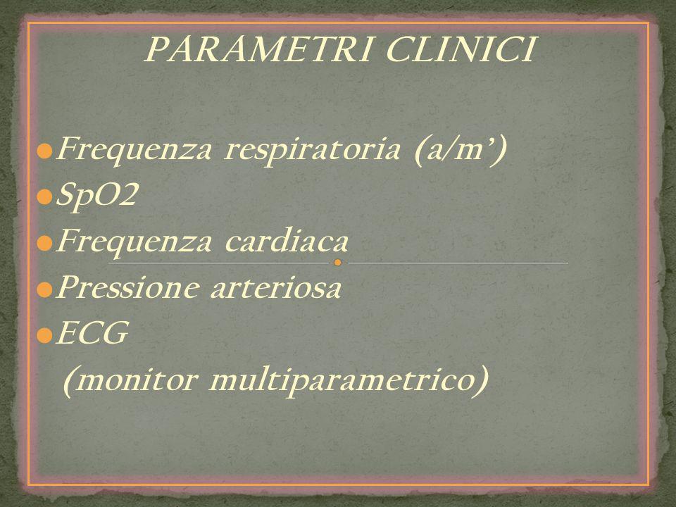 PARAMETRI CLINICI Frequenza respiratoria (a/m) SpO2 Frequenza cardiaca Pressione arteriosa ECG (monitor multiparametrico)