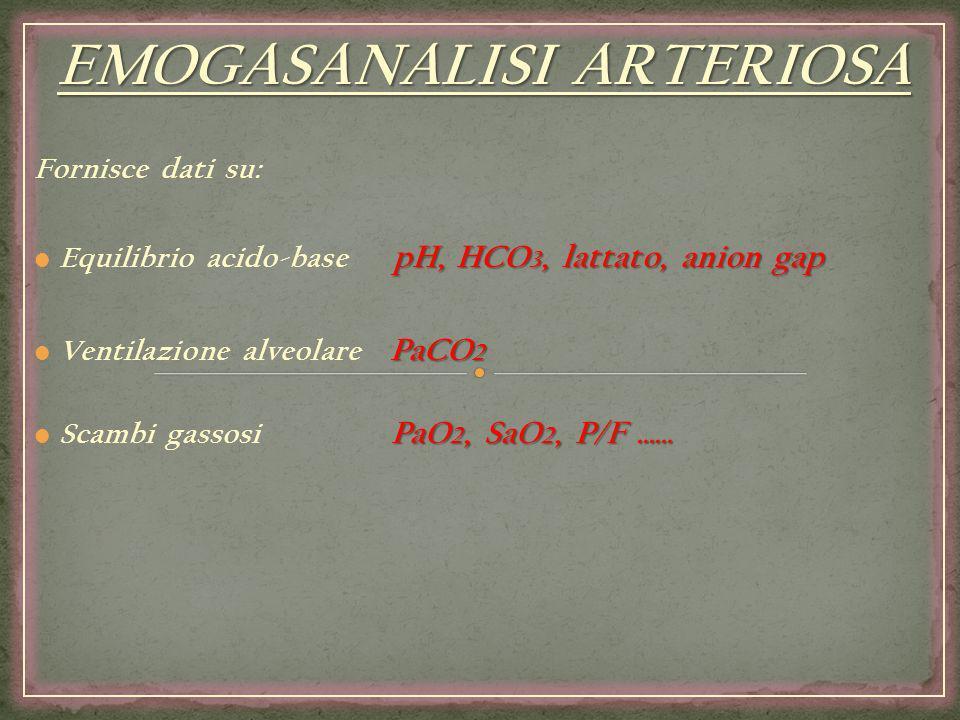 EMOGASANALISI ARTERIOSA Fornisce dati su: pH, HCO 3, lattato, anion gap Equilibrio acido-base pH, HCO 3, lattato, anion gap PaCO 2 Ventilazione alveol