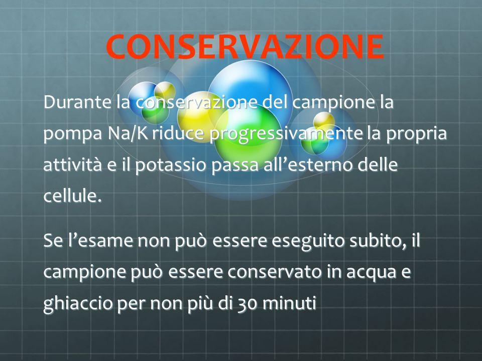 CONSERVAZIONE Durante la conservazione del campione la pompa Na/K riduce progressivamente la propria attività e il potassio passa allesterno delle cel