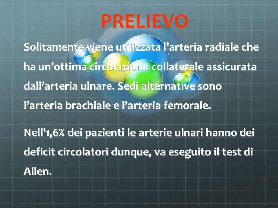 PRELIEVO Solitamente viene utilizzata larteria radiale che ha unottima circolazione collaterale assicurata dallarteria ulnare. Sedi alternative sono l