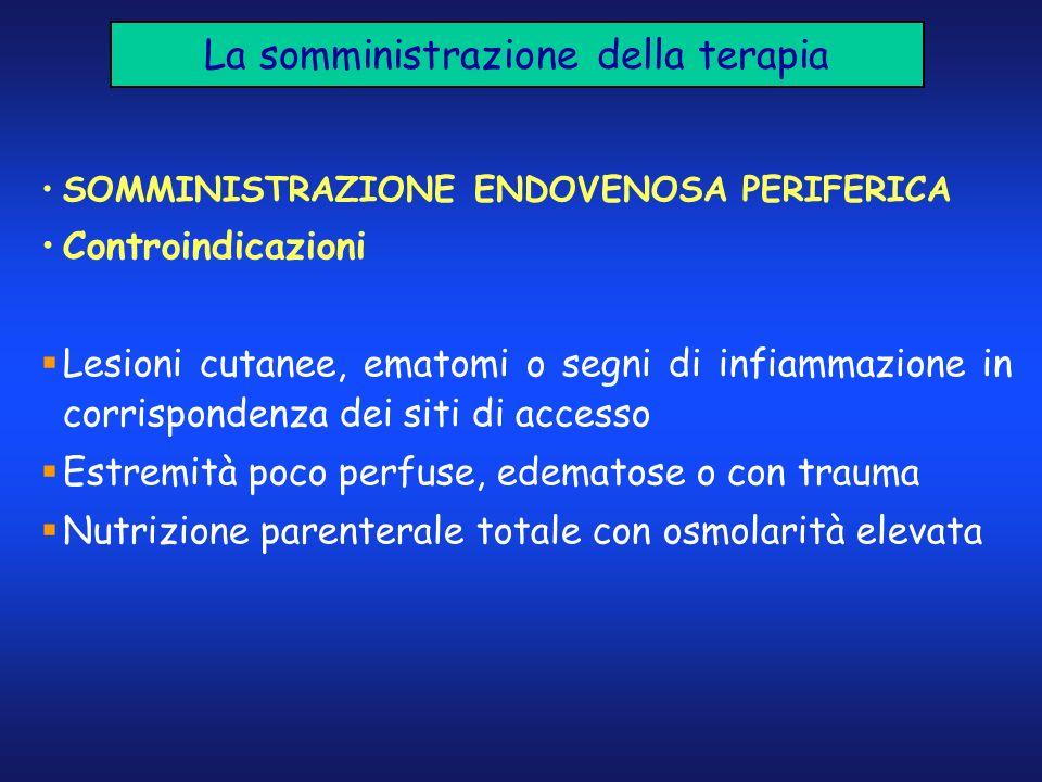 La somministrazione della terapia SOMMINISTRAZIONE ENDOVENOSA PERIFERICA Controindicazioni Lesioni cutanee, ematomi o segni di infiammazione in corris