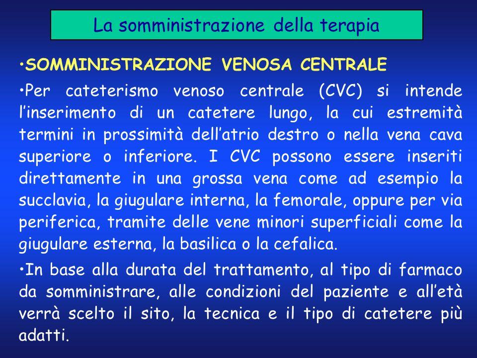 La somministrazione della terapia SOMMINISTRAZIONE VENOSA CENTRALE Per cateterismo venoso centrale (CVC) si intende linserimento di un catetere lungo,