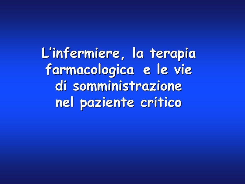Linfermiere, la terapia farmacologicae le vie di somministrazione nel paziente critico