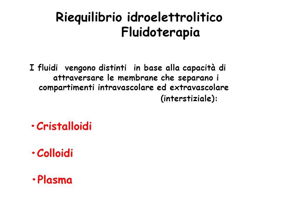 Riequilibrio idroelettrolitico Fluidoterapia I fluidi vengono distinti in base alla capacità di attraversare le membrane che separano i compartimenti