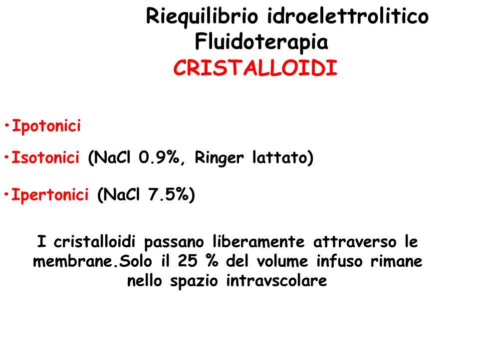 Riequilibrio idroelettrolitico Fluidoterapia CRISTALLOIDI Ipotonici Isotonici (NaCl 0.9%, Ringer lattato) Ipertonici (NaCl 7.5%) I cristalloidi passan