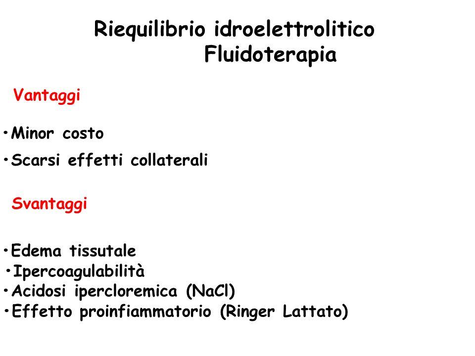 Riequilibrio idroelettrolitico Fluidoterapia Vantaggi Minor costo Scarsi effetti collaterali Svantaggi Edema tissutale Ipercoagulabilità Acidosi iperc