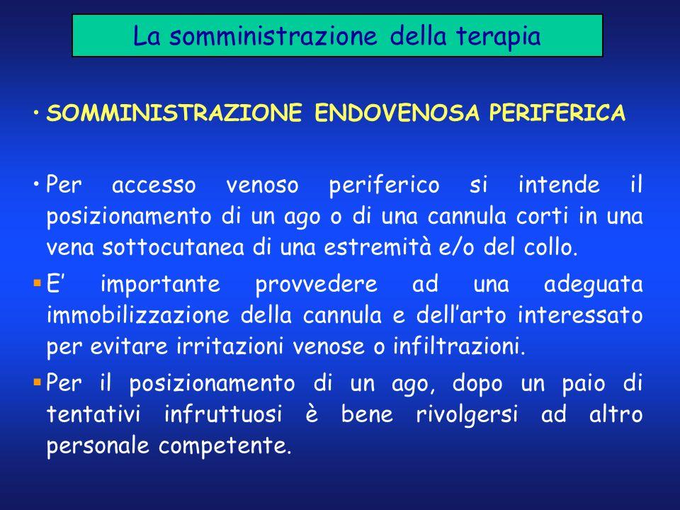 La somministrazione della terapia SOMMINISTRAZIONE ENDOVENOSA PERIFERICA Per accesso venoso periferico si intende il posizionamento di un ago o di una