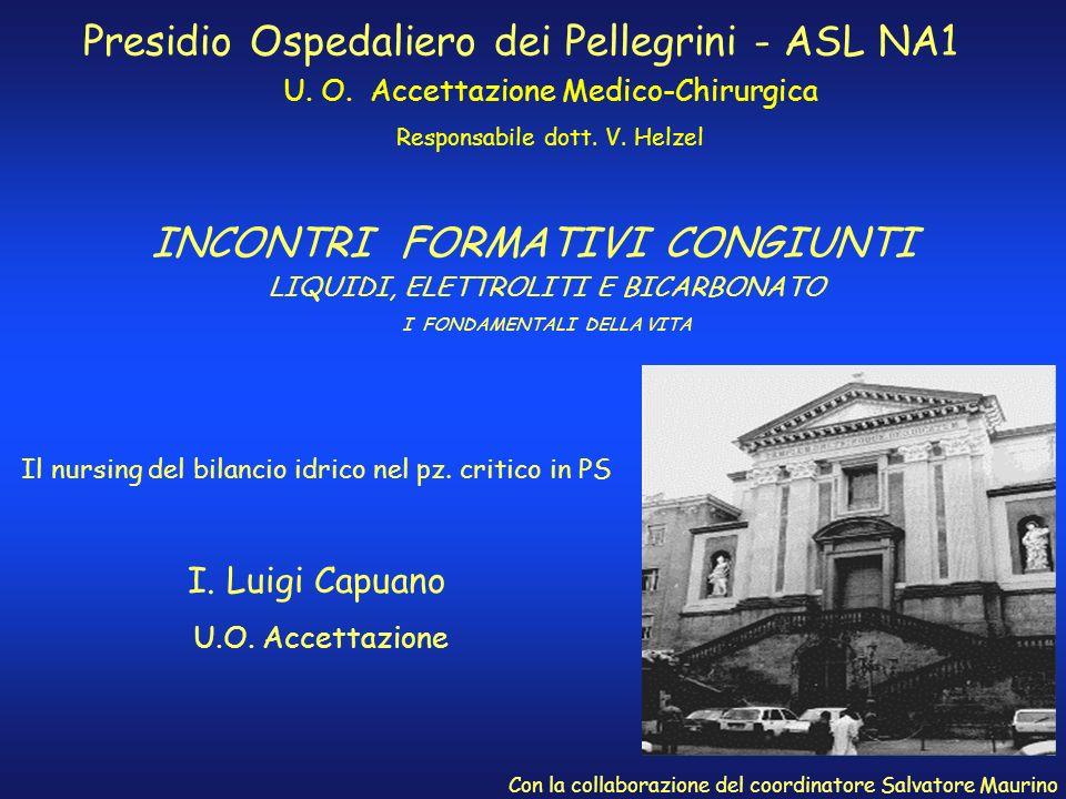 INCONTRI FORMATIVI CONGIUNTI Presidio Ospedaliero dei Pellegrini - ASL NA1 U. O. Accettazione Medico-Chirurgica Responsabile dott. V. Helzel Il nursin