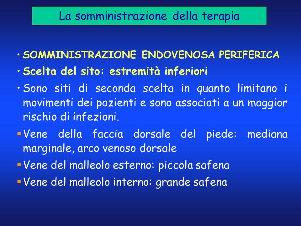 La somministrazione della terapia SOMMINISTRAZIONE ENDOVENOSA PERIFERICA Scelta del sito: estremità inferiori Sono siti di seconda scelta in quanto li