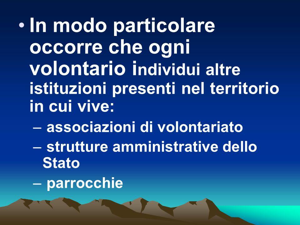 In modo particolare occorre che ogni volontario i ndividui altre istituzioni presenti nel territorio in cui vive: – associazioni di volontariato – str