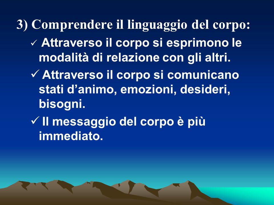 3) Comprendere il linguaggio del corpo: Attraverso il corpo si esprimono le modalità di relazione con gli altri.
