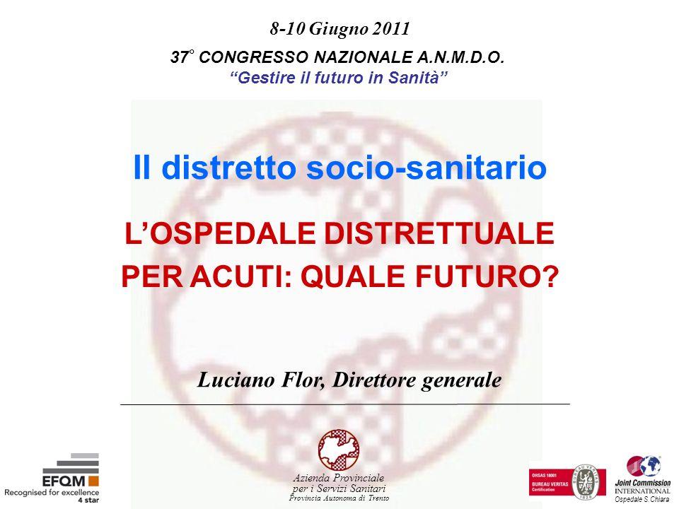 LOSPEDALE DISTRETTUALE PER ACUTI: QUALE FUTURO? 8-10 Giugno 2011 37 ° CONGRESSO NAZIONALE A.N.M.D.O. Gestire il futuro in Sanità Luciano Flor, Diretto