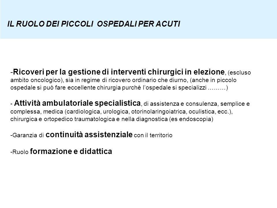-Ricoveri per la gestione di interventi chirurgici in elezione, (escluso ambito oncologico), sia in regime di ricovero ordinario che diurno, (anche in