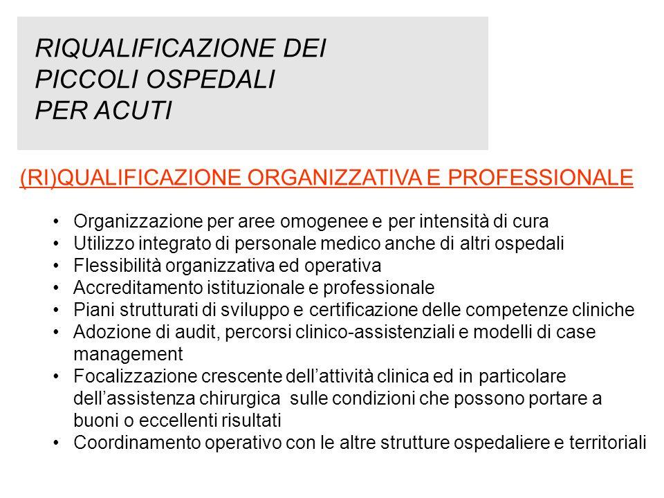 RIQUALIFICAZIONE DEI PICCOLI OSPEDALI PER ACUTI (RI)QUALIFICAZIONE ORGANIZZATIVA E PROFESSIONALE Organizzazione per aree omogenee e per intensità di c