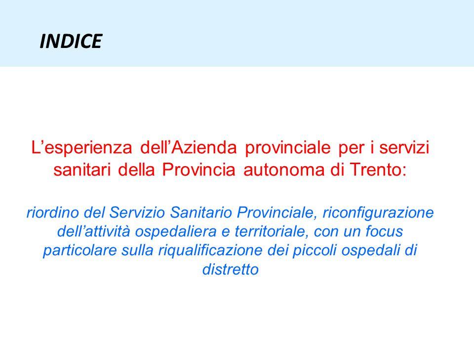 INDICE Lesperienza dellAzienda provinciale per i servizi sanitari della Provincia autonoma di Trento: riordino del Servizio Sanitario Provinciale, ric