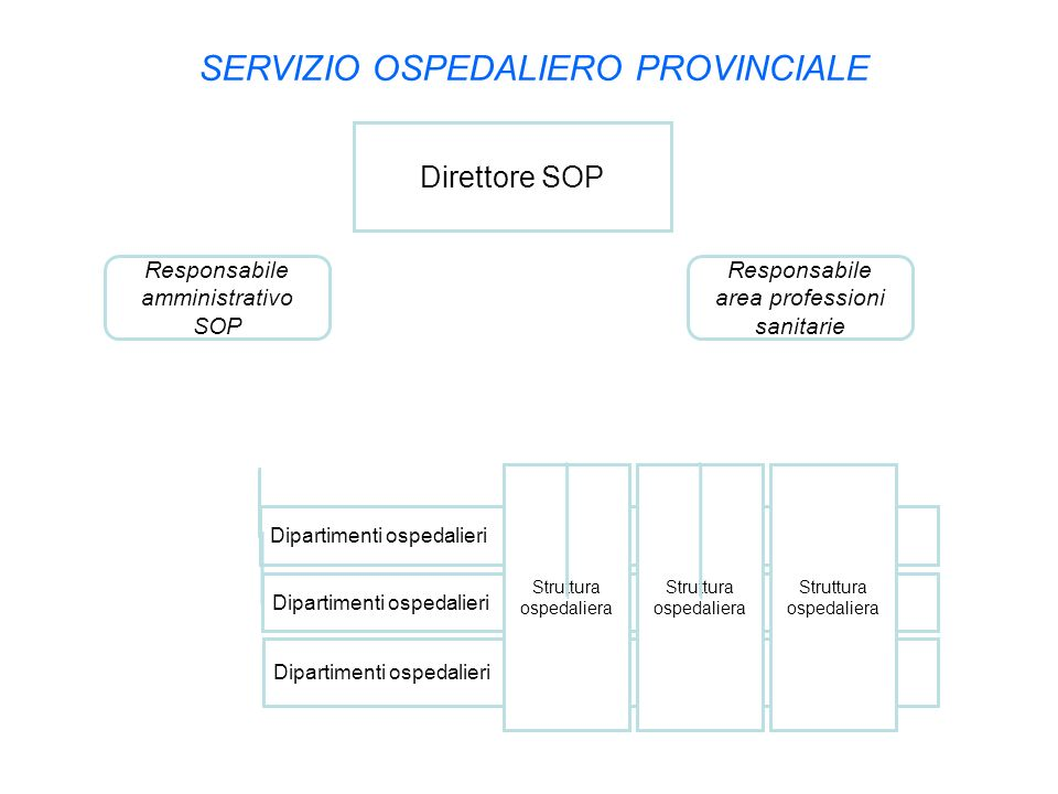 SERVIZIO OSPEDALIERO PROVINCIALE Direttore SOP Dipartimenti ospedalieri Responsabile amministrativo SOP Dipartimenti ospedalieri Struttura ospedaliera
