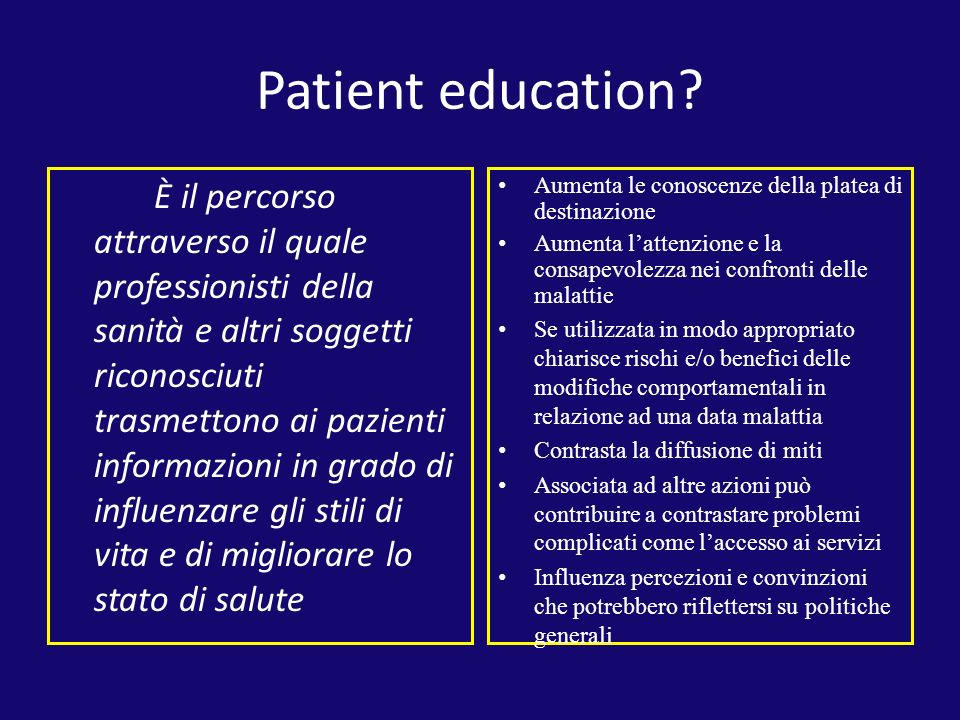 Patient education.