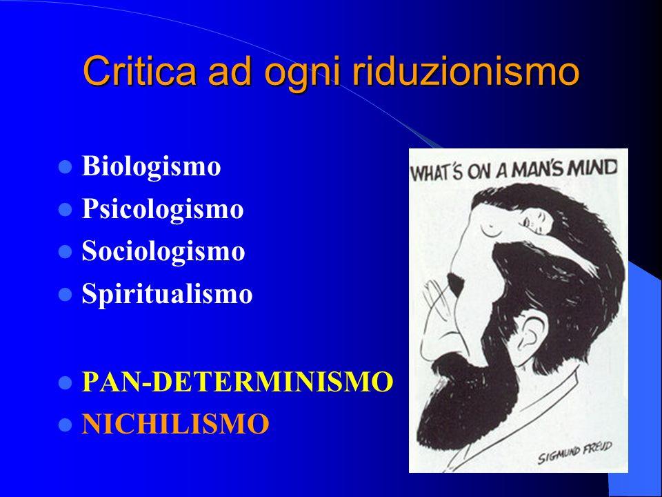 Limiti del materialismo Risolve i disturbi psichici in termini biologici e con prescrizione di farmaci.
