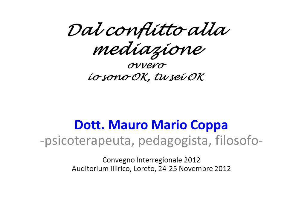 Dal conflitto alla mediazione ovvero io sono OK, tu sei OK Dott. Mauro Mario Coppa -psicoterapeuta, pedagogista, filosofo- Convegno Interregionale 201