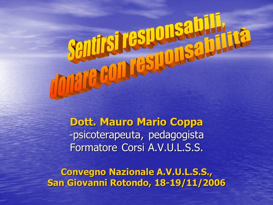 Dott. Mauro Mario Coppa -psicoterapeuta, pedagogista Formatore Corsi A.V.U.L.S.S. Convegno Nazionale A.V.U.L.S.S., San Giovanni Rotondo, 18-19/11/2006