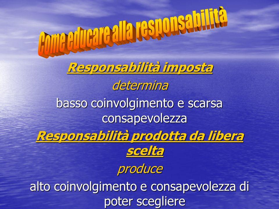 Responsabilità imposta determina basso coinvolgimento e scarsa consapevolezza Responsabilità prodotta da libera scelta produce alto coinvolgimento e c
