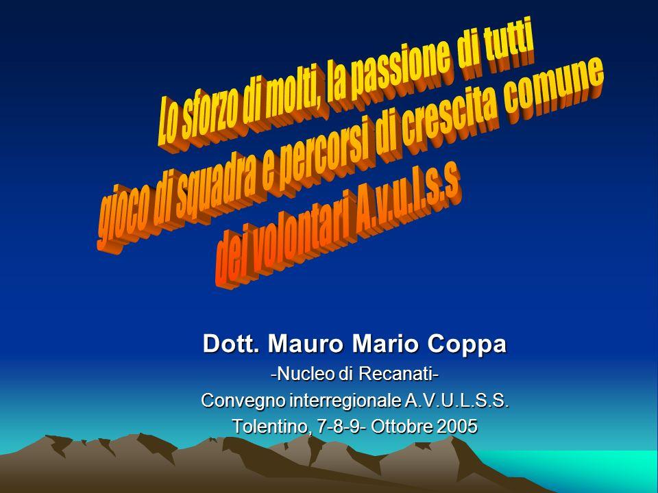 . Dott. Mauro Mario Coppa -Nucleo di Recanati- Convegno interregionale A.V.U.L.S.S. Tolentino, 7-8-9- Ottobre 2005
