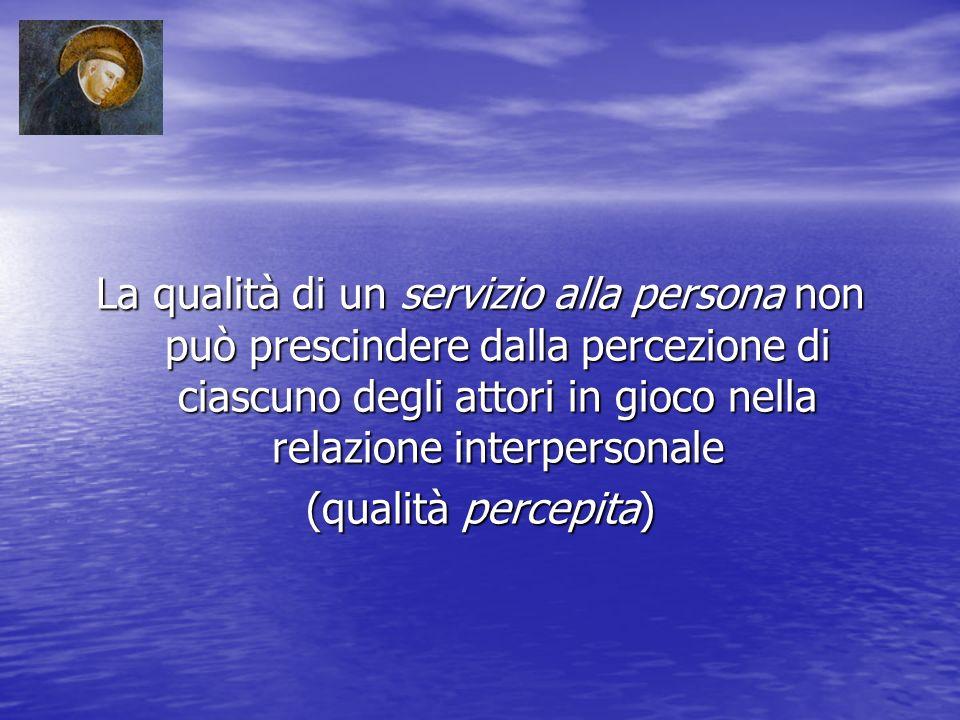 La qualità di un servizio alla persona non può prescindere dalla percezione di ciascuno degli attori in gioco nella relazione interpersonale (qualità percepita)