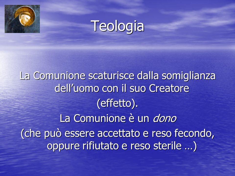 Teologia La Comunione scaturisce dalla somiglianza delluomo con il suo Creatore (effetto).