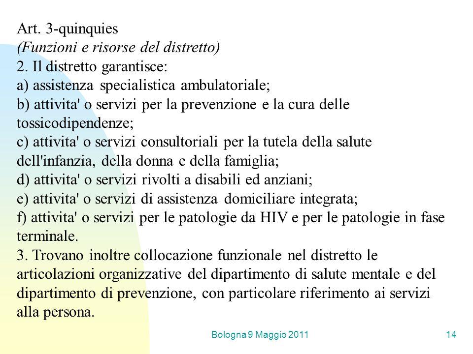 Bologna 9 Maggio 201114 Art. 3-quinquies (Funzioni e risorse del distretto) 2. Il distretto garantisce: a) assistenza specialistica ambulatoriale; b)