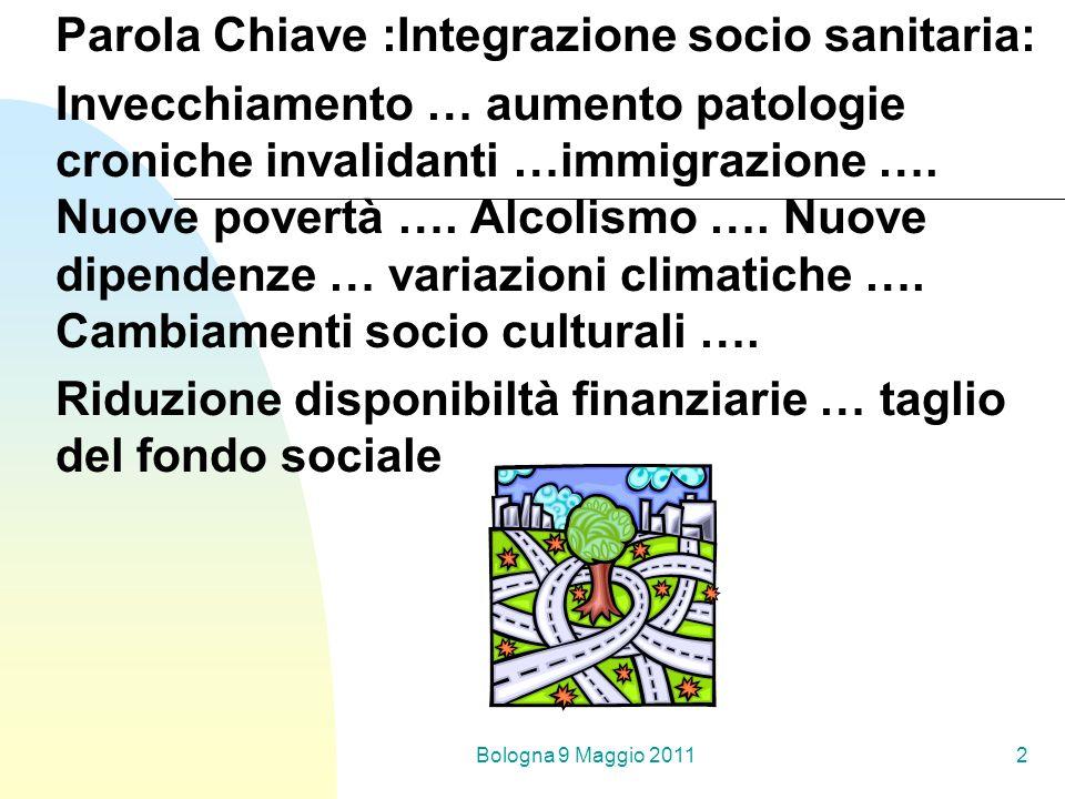 Bologna 9 Maggio 20112 Parola Chiave :Integrazione socio sanitaria: Invecchiamento … aumento patologie croniche invalidanti …immigrazione …. Nuove pov