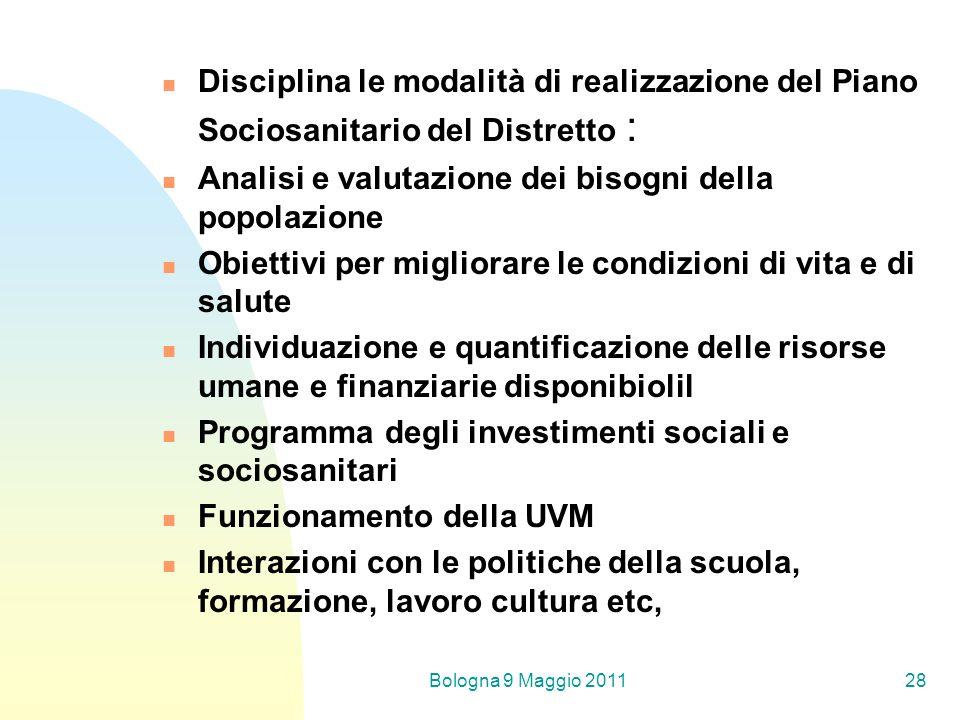 Bologna 9 Maggio 201128 Disciplina le modalità di realizzazione del Piano Sociosanitario del Distretto : Analisi e valutazione dei bisogni della popol