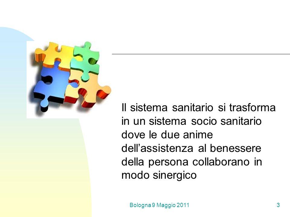 Bologna 9 Maggio 20113 Il sistema sanitario si trasforma in un sistema socio sanitario dove le due anime dellassistenza al benessere della persona collaborano in modo sinergico