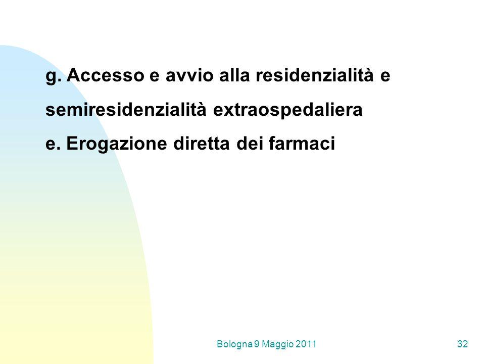 Bologna 9 Maggio 201132 g. Accesso e avvio alla residenzialità e semiresidenzialità extraospedaliera e. Erogazione diretta dei farmaci