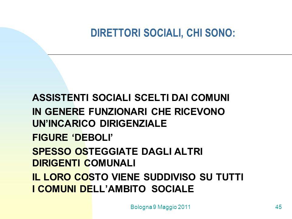 Bologna 9 Maggio 201145 DIRETTORI SOCIALI, CHI SONO: ASSISTENTI SOCIALI SCELTI DAI COMUNI IN GENERE FUNZIONARI CHE RICEVONO UNINCARICO DIRIGENZIALE FI