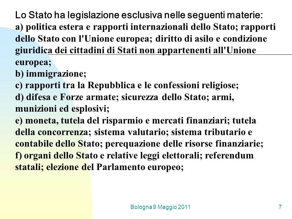 Bologna 9 Maggio 20117 Lo Stato ha legislazione esclusiva nelle seguenti materie: a) politica estera e rapporti internazionali dello Stato; rapporti d