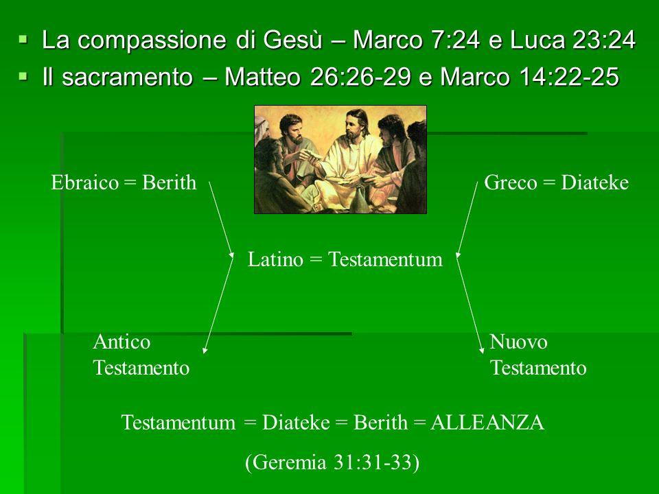 La compassione di Gesù – Marco 7:24 e Luca 23:24 La compassione di Gesù – Marco 7:24 e Luca 23:24 Il sacramento – Matteo 26:26-29 e Marco 14:22-25 Il sacramento – Matteo 26:26-29 e Marco 14:22-25 Antico Testamento Nuovo Testamento Ebraico = BerithGreco = Diateke Latino = Testamentum Testamentum = Diateke = Berith = ALLEANZA (Geremia 31:31-33)