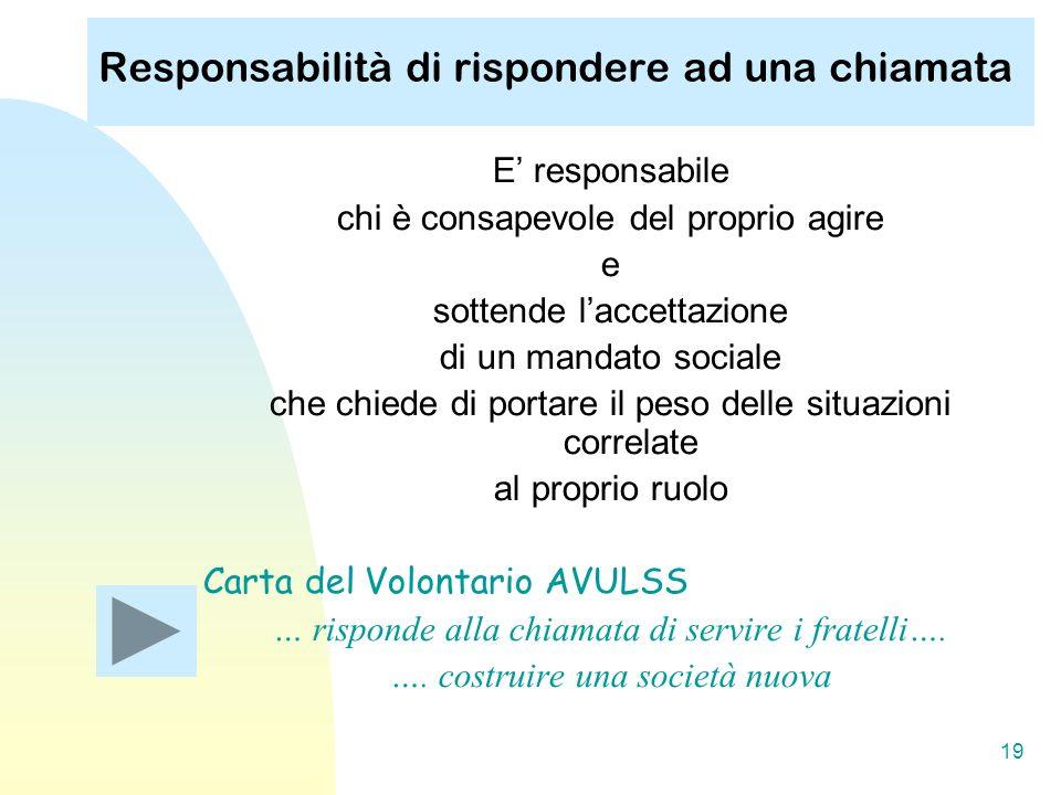 19 Responsabilità di rispondere ad una chiamata E responsabile chi è consapevole del proprio agire e sottende laccettazione di un mandato sociale che