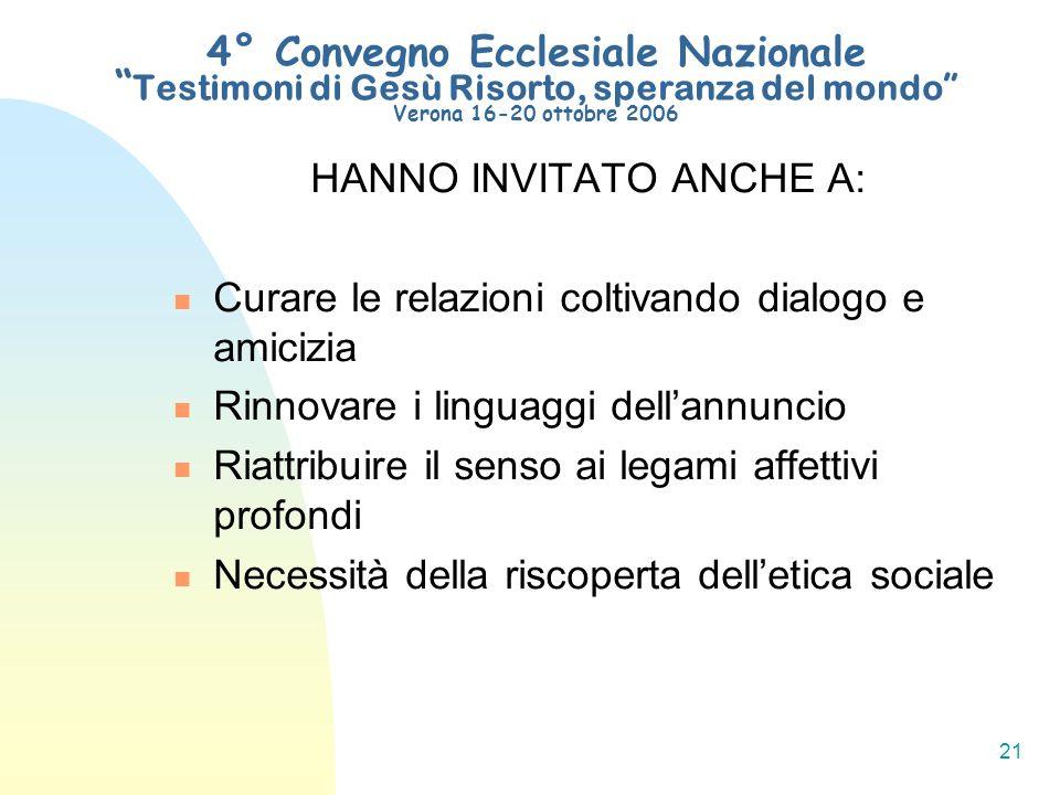 21 4° Convegno Ecclesiale Nazionale Testimoni di Gesù Risorto, speranza del mondo Verona 16-20 ottobre 2006 HANNO INVITATO ANCHE A: Curare le relazion
