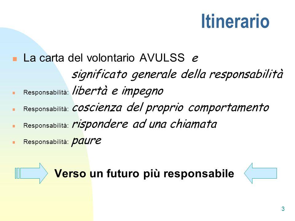 3 Itinerario La carta del volontario AVULSS e significato generale della responsabilità Responsabilità: libertà e impegno Responsabilità: coscienza de